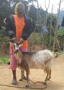 Levisia Dativa Maona med en av geitene sine