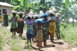 Det var omfattende dugnadsinnsats fra landsbyene som sognet til ungdomsskolen. Her bærer jenter Lukunguni barneskole støpesand til internatet.